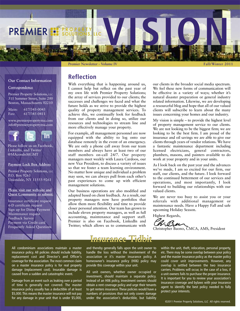 Newsletters Premier Property Solutions